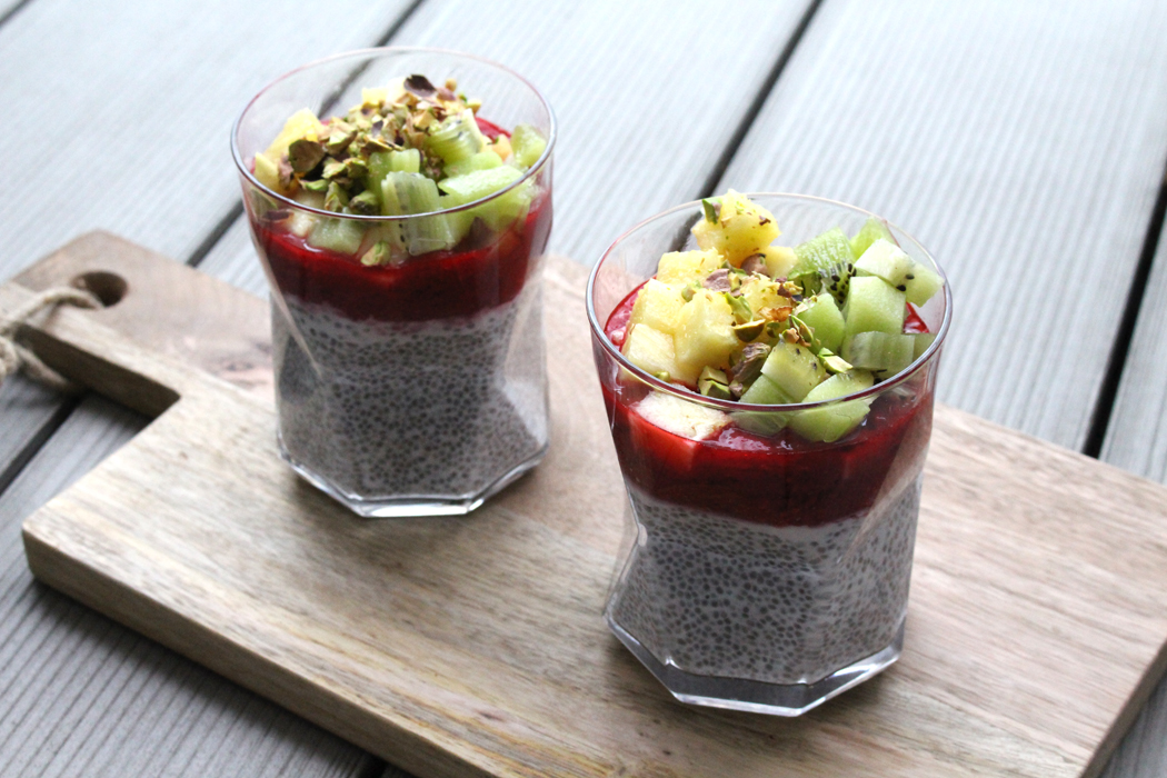 Chia-Pudding mit Himbeersauce2