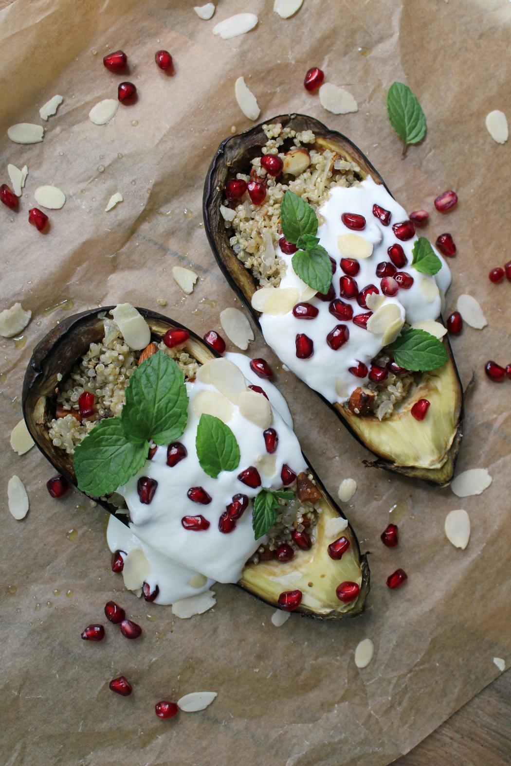 Auberginen mit Dattel Mandel Quinoa und Minz Kokosjoghurt03