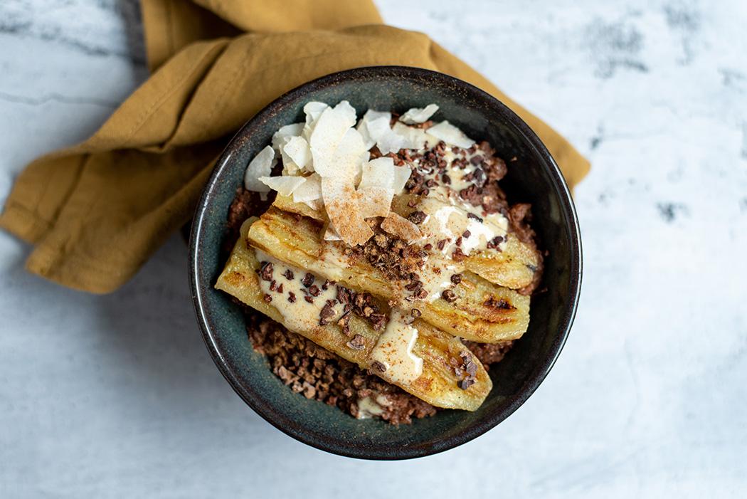 Schoko Buchweizen Porridge mit gebratener Banane04