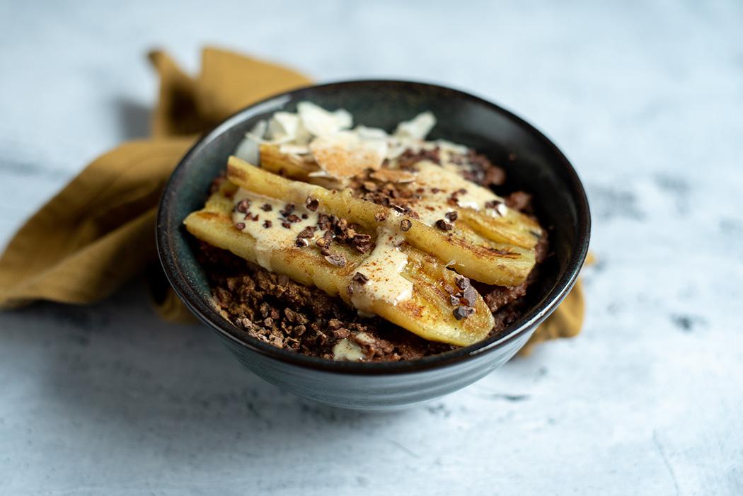 Schoko Buchweizen Porridge mit gebratener Banane05