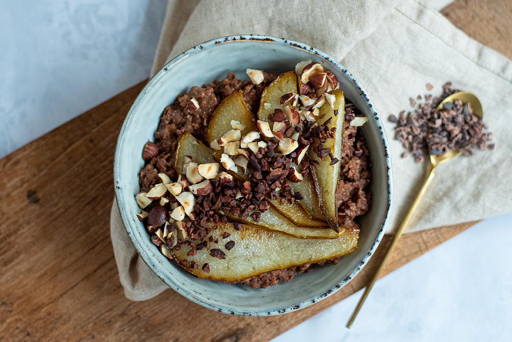 Schoko Buchweizen Porridge mit Birne01