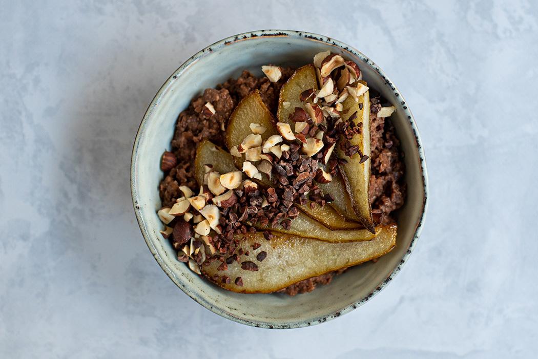 Schoko Buchweizen Porridge mit Birne02