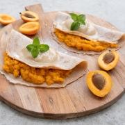 Rezept: Crêpes mit Aprikosen-Kompott und Vanille-Nicecream