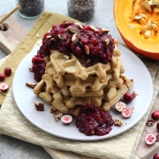 Recipe: Pumpkin Waffles with Cranberry Compote {Sugar-Free}