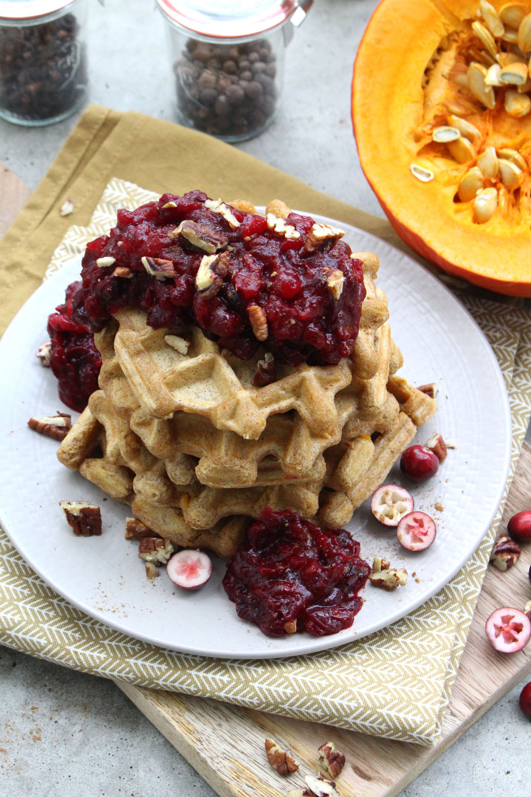 Kürbiswaffeln mit Cranberry Kompott02