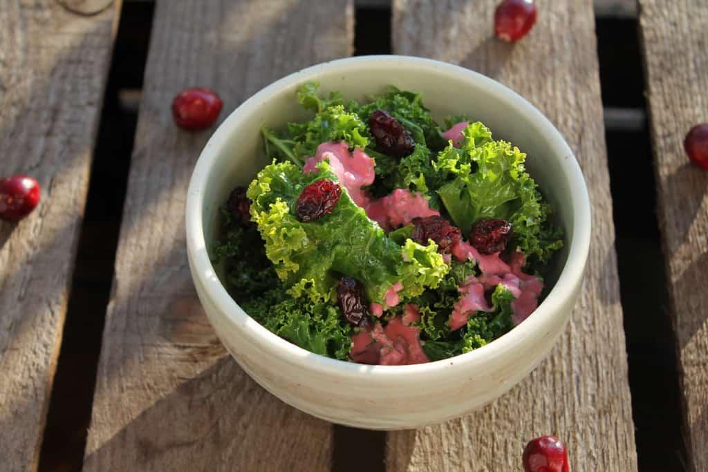 Gruenkohl Salat mit Cranberries